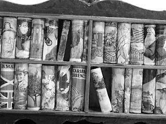 Detail of bookcase. © Richard Rawlins