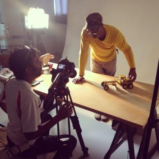 Filming JKR's toys in the studio.